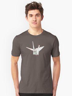 The paper crane (orizuru) is a classic Japanese origami design. Japanese Origami, Origami Design, Crane, Shirt Designs, Paper, Mens Tops, T Shirt, Stuff To Buy, Shopping