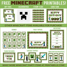 Free minecraft printable invitation free printables other free minecraft party printables and more filmwisefo