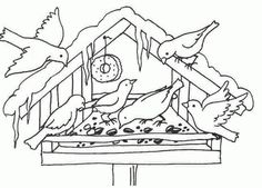 Gabfod képe. Feeding Birds In Winter, Coloring Books, Coloring Pages, Painting Templates, Winter Quilts, Bird Embroidery, Art Drawings For Kids, Digi Stamps, Winter Landscape