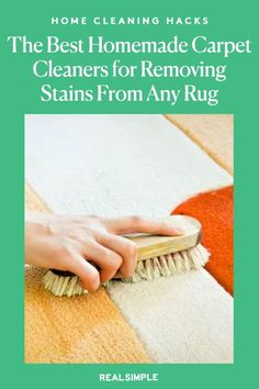 The Best Homemade Carpet Cleaners for Removing Stains From Every Type of Rug | Made with natural products you probably have on hand, these homemade carpet cleaners and DIY stain removers will tackle virtually any mess on synthetic or natural fibers. #cleaningtips #cleanhouse #realsimple #stepbystepcleaning #cleaninghacks #cleaningguide