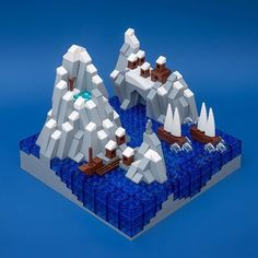 More microscale experimentation. It was tempting to build mini Viking ships, but the Mixel fangs are so perfect for sails. #lego #microscale #landscape #diorama  #art by jeff_works