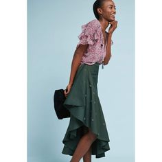 Anthropologie Ruffled Midi Skirt ($218) ❤ liked on Polyvore featuring skirts, green, ruffle skirt, blue green skirt, ruffle midi skirt, anthropologie skirts and frilly skirt
