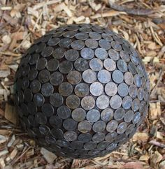 Penny balls are a cool garden art that keeps slugs away and turns your hydrangeas blue.