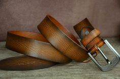 Men Belt / Tan Brown Cowhide Leather Belt / Men's Distressed Leather Belt / Tree Bark Grain Effect Leather Belt Strap by SherryJewelry, $29.00