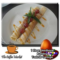 The Coffee Market has a few surprises for you. Take this traditional pancake for example, we have taken grandma's recipe and given it our own twist. Served with a lovely cup of percolated coffee and you have a the perfect afternoon snack. #cuisine #coffeeshop #specials