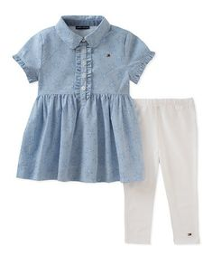 Love this Blue Button-Front Tunic & Leggings - Infant, Toddler & Girls on #zulily! #zulilyfinds