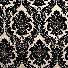 Black Damask Fabric   Modern Upholstery Yardage by PopDecorFabrics