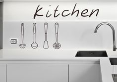 Set Of Different Kitchen Utensils Wall Sticker. This funky artwork depicting kitchen tools has been designed to fit any kitchen style and add a different kind of appeal to your kitchen cabinets. http://walliv.com/set-of-different-kitchen-utensils-wall-sticker-wall-art-decal