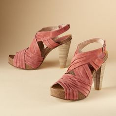 """FANDANGO SANDALS--Ruched suede crisscrosses the feet in platform sandals handmade in Spain. Leather lining and 4-1/2"""" stacked heel"""