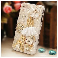 Handmade crystals diamonds tower applique case cover for iPhone 5