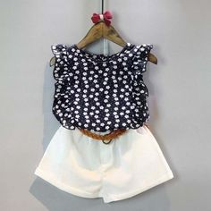 b309c49f9d Toddler Kids Baby Girls Clothes Sets Floral Chiffon Polka Dot Sleeveless T  shirt Tops+Shorts Outfits 2 pcs Sets-in Clothing Sets from Mother   Kids on  ...