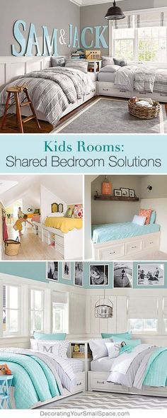 Kids Rooms: Shared Bedroom Solutions • Tips, Ideas and Tutorials! Kids Bedroom Inspiration kids bedroom organization #kids
