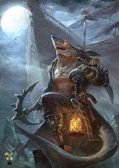 Shark pirate concept