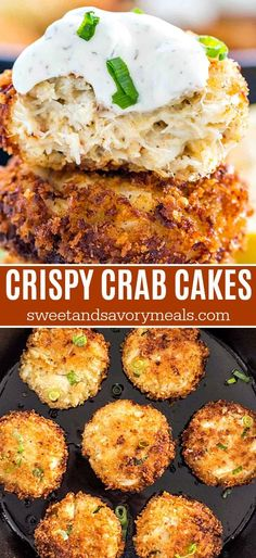 Crab Cakes are the perfect seafood treat crispy on the outside and tender on the inside crabcakes crab seafood easyrecipe bestrecipes fishandseafood sweetandsavorymeals Best Seafood Recipes, Gourmet Recipes, Cooking Recipes, Healthy Recipes, Simple Recipes, Vegetarian Recipes, Crab Cake Recipes, Fish Recipes, Party Recipes