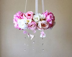 Flower mobile, Flower chandelier, Baby mobile, Floral mobile, Flower mobile with Swarovski crystals / Crib chandelier, Pink and gold