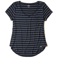 Hollister Must-Have Easy Pocket T-Shirt (180 EGP) ❤ liked on Polyvore featuring tops, t-shirts, navy stripe, navy blue v neck t shirt, navy v neck t shirt, navy t shirt, v neck pocket tee and navy stripe t shirt