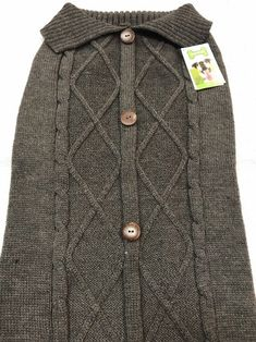 Dog Sweater Size XXL 2XL Pet Clothes Dark Grey Knitted Brown Buttons Centered    eBay