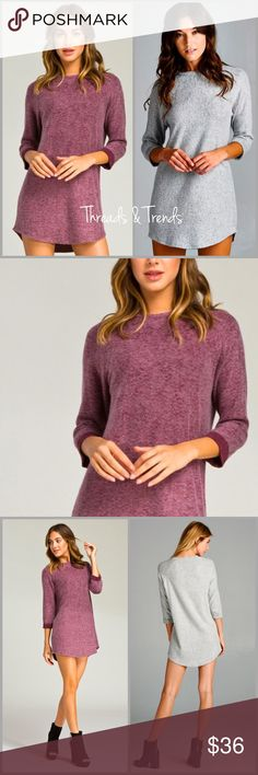 Raglan French Terry Tunic Wine Loose fit, three-quarter length sleeves, round neck raglan dress. Rounded hems. Sleeves are cuffed and tacked. Made with heavy weight brushed french terry fabric that has a very soft fuzzy texture, drapes well, and is very warm. fabric has good stretch. 29% Polyester, 68% Rayon, 3% Spandex Threads & Trends Dresses