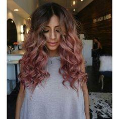 Rose Gold Bayalage on Brunette Hair