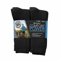 Comfort Power™ Men's 10 Pair Black Crew Socks | sean