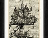Steampunk Print Steampunk Building vintage dictionary print - upcycled book page print - vintage art print - home decor wall art - 8 x 10