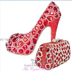 ce3eabf05031 red Women Shoes High Heel glitter Crystal Wedding Pumps platform Peep Toe  Party Shoes with Matching Clutch Bag by HandmadeCrystalShoes on Etsy