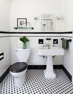 Vintage Bathroom Tile Ideas Lovely 31 Retro Black White Bathroom Floor Tile Ideas and Pictures Black And White Bathroom Floor, Black White Bathrooms, White Bathroom Tiles, Bathroom Tile Designs, Bathroom Floor Tiles, Kitchen Floor, Wall Tiles, Subway Tiles, Black Floor