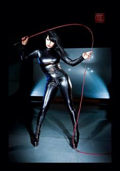 Catsuit and whip - OH YES x