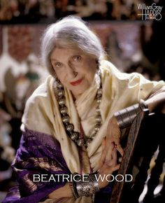 """Gorgeous!  Beatrice Wood by William Gray Harris Photography.  Artist/bohemian Beatrice Wood's most productive years were from age 80 until her death at 105. When asked about the secret to her longevity, she usually replied """"art books, young men and chocolate."""""""