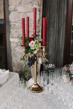 Golden chandelier with flowers marsala