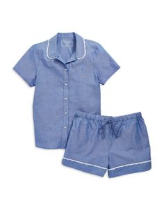 I'm dying for some PJs like this so I can look cute lounging around the house on maternity leave...   Oxford Shirt & Shorts Pajama Set | Lord and Taylor