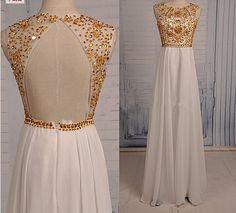 Long Chiffon Beading Prom Dresses White Prom Dresses Tulle Prom Dresses Long Prom Dresses