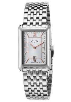 Rotary Watches Women's Stainless Steel Silver-Tone Dial SS Rose-Tone Accents LB02685-02,    #Rotary,    #LB0268502,    #Dress