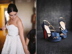 I like the navy for something-blue shoes  embossed wedding dress and navy shoes