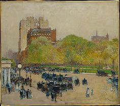 Childe Hassam (American, 1859–1935). Spring Morning in the Heart of the City, 1890, reworked 1895–99. The Metropolitan Museum of Art, New York. Gift of Ethelyn McKinney, in memory of her brother, Glenn Ford McKinney, 1943 (43.116.1) #spring