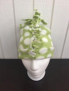 Infant Polka Dot Fleece Hat, Unisex Polka Dot Baby Hat, Baby Winter Fleece Hat, Green Baby Winter Hat by KozyKiddies on Etsy