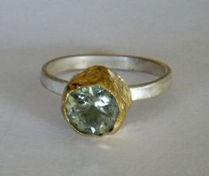 green amethyst ring solid gold and sterling silver by TiraJewelry