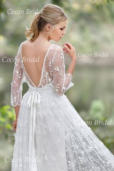 Romantic Boho Wedding dress from Chiffon Italian by CoconBridal