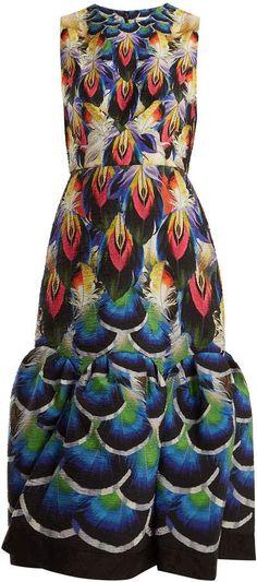 MARY KATRANTZOU Feather-print crinkle-jacquard dress