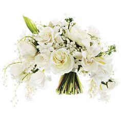 Crescent-shaped, all-white bouquet of garden roses, gardenias,