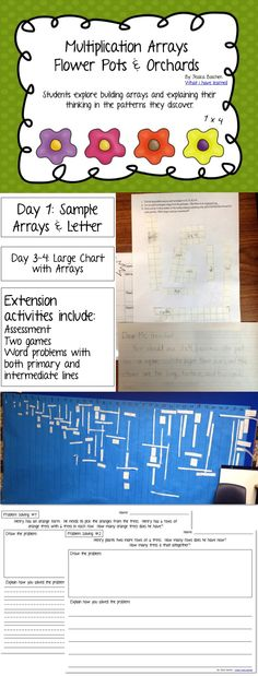 Problem Solving with Multiplication Arrays and Area Models  Students explore building arrays and explaining their thinking in the patterns they discover. The packet is built for 2nd and 3rd grade, but could be used for 4th grade as well.