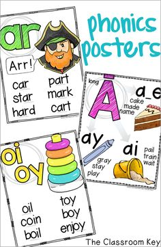Phonics Posters ($) Includes blends, digraphs, long and short vowel sounds, r-controlled vowel sounds, and diphthongs, great for 1st, 2nd, and 3rd grade classrooms