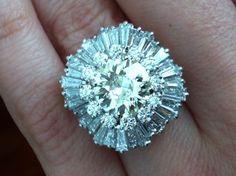 Stunning Vintage Platinum Diamond Ballerina Cocktail Ring 3 Carat Center Diamond