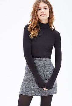 Women's fashion | Turtle neck shirt with high waisted grey skirt