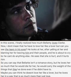 This is kinda what Jason said but cmon they deserve each other after everything they've gone through<<<< This scene is hard to watch. I hate seeing them so divided and hurting. is tough The 100 Cast, The 100 Show, It Cast, Bellarke, Movies Showing, Movies And Tv Shows, The 100 Serie, The 100 Quotes, Bob Morley