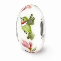 Sterling Silver White Hand Painted Hummingbird Glass Bead