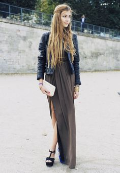 Maxi skirt and black leather jacket