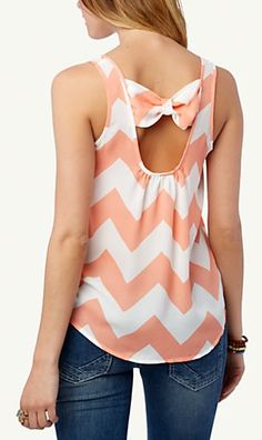 Cute chevron bow back tank in coral - only $12.99! http://rstyle.me/n/mcbgznyg6