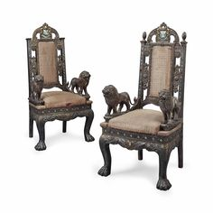 A PAIR OF INDIAN SILVERED-METAL AND ENAMEL SIDE CHAIRS EARLY 20TH CENTURY