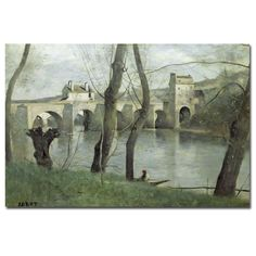 The Bridge Mantes by Jean Baptiste Corot Painting Print on Canvas